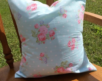 Turqoise and pink shabby chic nursery pillow