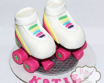 3D fondant roller skates cake topper set