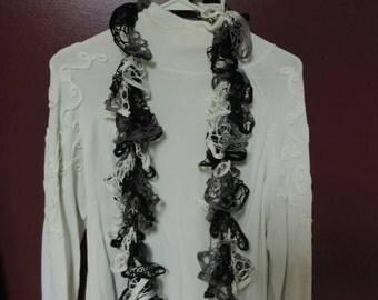 Black white and grey sassy ruffles scarf