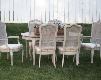 SOLD! 7 Piece Vintage French Cane Dining Room Set with Table and Chairs