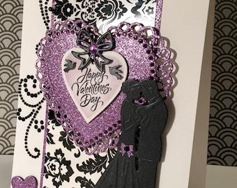 Handmade Valentine's Card/Black & White Damask Collection