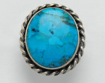 Turquoise ring - Vintage ring , native american turquoise ring, vintage ring, big round ring, round ring, turquoise round ring