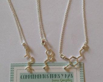 Dopamine-Serotonin-Acetilcoline Molecule -Biology Chemist-Happiness-love-Science Jewelry/Colgante molécula dopamina serotonina-acetilcolina
