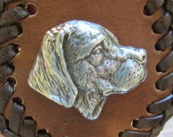 Brown Leather Key Fob with Brown Lace showing the Double Loop Stitching with a dog's head.