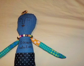 perfect looks imperfect handmade doll, positive word doll, one of a kind