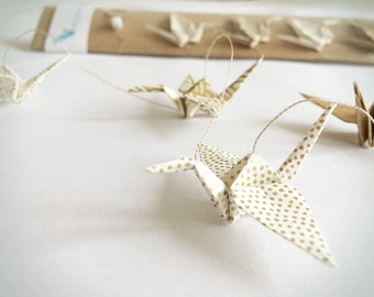 Mini origami crane Golden Garland