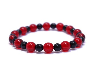 Red Bracelet - Black Bracelet for Women - Soccer Gifts - Red and Black Sports Team - Sports Jewelry for Moms - DC United - Atlanta United FC