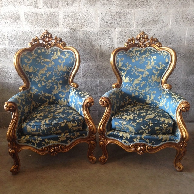Antique Italian Baroque 2 Chairs Rococo French Louis XVI Chair Fauteuil  Bergere Gold Leaf Gild Refinished ReUpholster Royal Blue Floral - Antique Italian Baroque 2 Chairs Rococo French Louis XVI Chair
