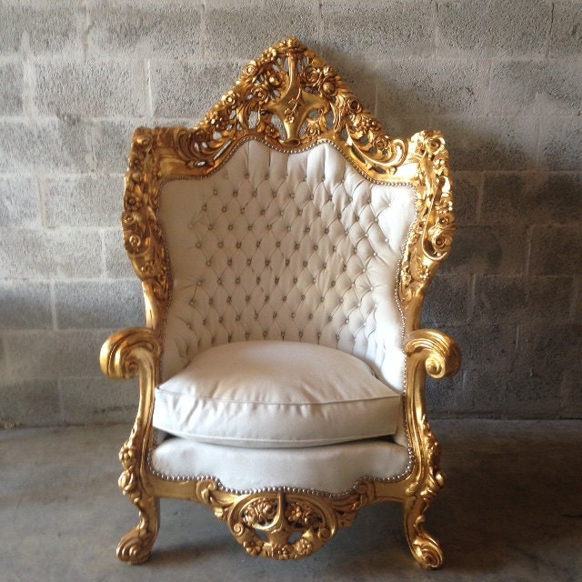 Sold antique rococo louis xvi baroque throne chair settee for Antique baroque furniture