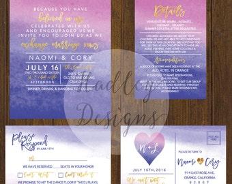 Watercolor Wedding Invitation, Pink Wedding Invitations, Elegant Wedding Invitation, Water Color Wedding Invite, Modern Wedding Invitation