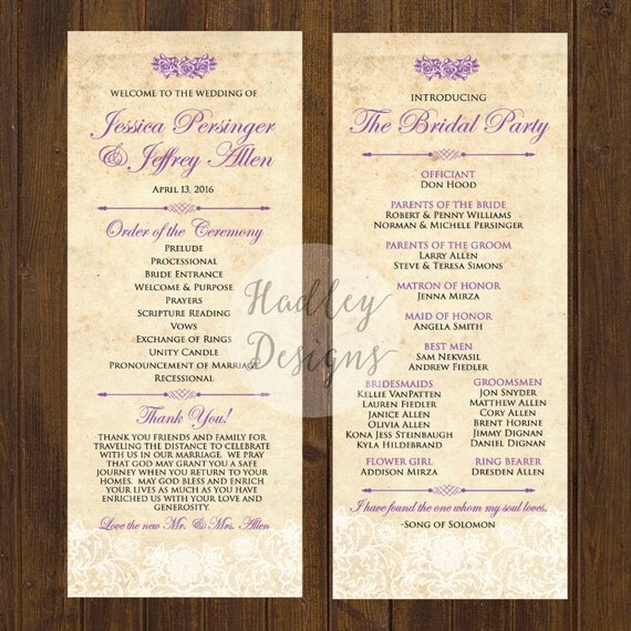 Vintage Wedding Program Country Wedding Program Rustic