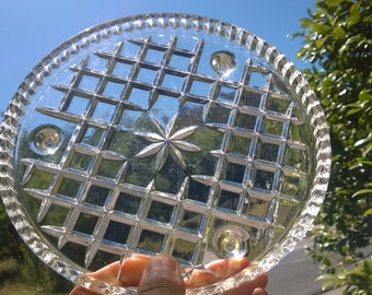 1930's Clear Glass Cake Platter ~ Cross Cut Pattern ~ Tri Footed