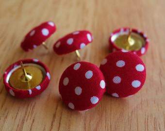 Set of 6 polka-dot fabric push pins