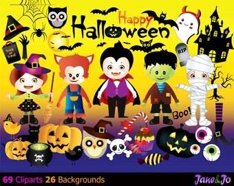 69 Halloween Cliparts 26 Backgrounds,HALLOWEEN Digital Clipart,Halloween Clipart,Halloween Clip Art Printables,Clipart,Halloween Owl Clipart