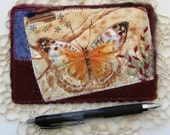 "Butterfly Fabric Postcard, Fiber Art Card, Handmade Quilt Card, Gift for Spring, Art to Frame, 6"" x 4"""