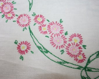 Sweet Hand Embroidered Tablecloth: Vintage Floral, Ribbon Theme on Linen