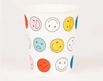 8 cups Smiley - cups cardboard Happy Faces made in FRANCE