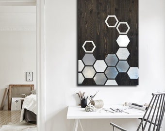 Modern Wall Art - Metal Wall Art - Wall Art Wood - Geometric Art - Wood Art - Modern Painting - Metal Wall Decor - Contemporary Wall Art