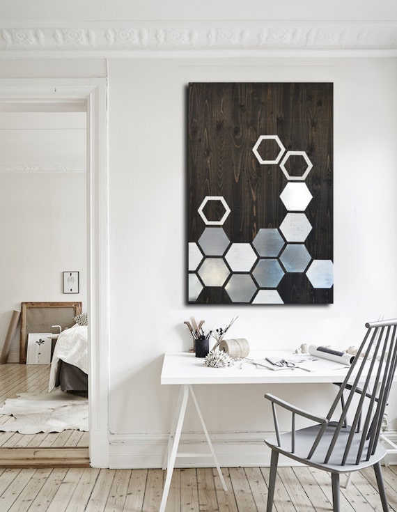 Modern wall art metal wall art wall art wood geometric for Black kitchen wall decor
