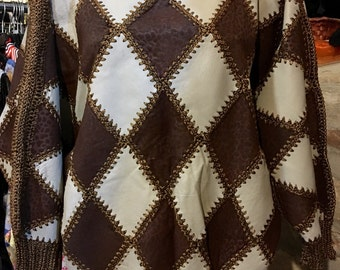 1980's crochet, dropped shoulder leather sweater. Size S/M.