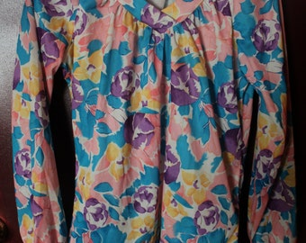 70's-80's Floral Long sleeve Blouse
