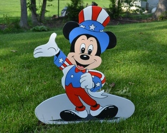 Micky Mouse at July 4th Independence day party american Flag