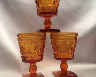 Park Lane Colony Yellow Gold AMBER Glass Wine Goblet,Set of 3 Amber glass goblets,Colony yellow glass goblets,gold colored water goblet