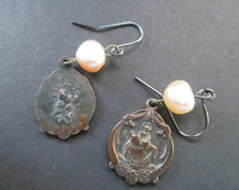 OOAK vintage, old, assemblage, religious medals, freshwater pearl, dangle, earrings, pierced