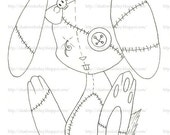 All Stitched Up Bunny Digital Stamp