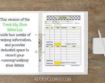 Printable Running Log - Running Journal - Track My Shoe Miles Log Bi-Weekly - Downloadable Walking log - Mile Tracker - Keep It Simple.