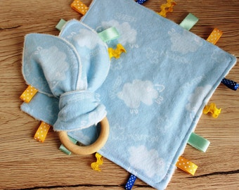 Baby boy gift set, Taggie blanket, Teething ring, Baby first gifts, Baby boy lovey, Wooden teether, Sensory toys, Security blanket, Baby toy