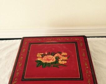 Vintage Red Wooden Decorative Storage/Jewelry Box