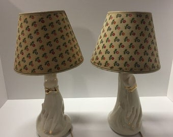 Mid Century ceramic hand lamps with floral shades