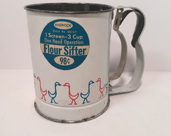 Vintage Androck three cup flour sifter with ducks