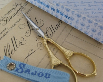 Sajou 'Flowers & Pearls' Langres Hand Paired Gilded Embroidery Scissors
