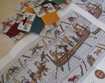 Sajou Museum & Heritage Bayeux Tapestry Embroidery Kit- Harold's Embarkment at Normany