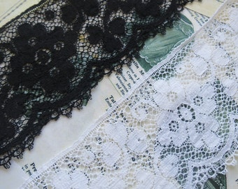 English Nottingham Cluny Lace- Deep Trim- Floral & Trailing leaves Motifs