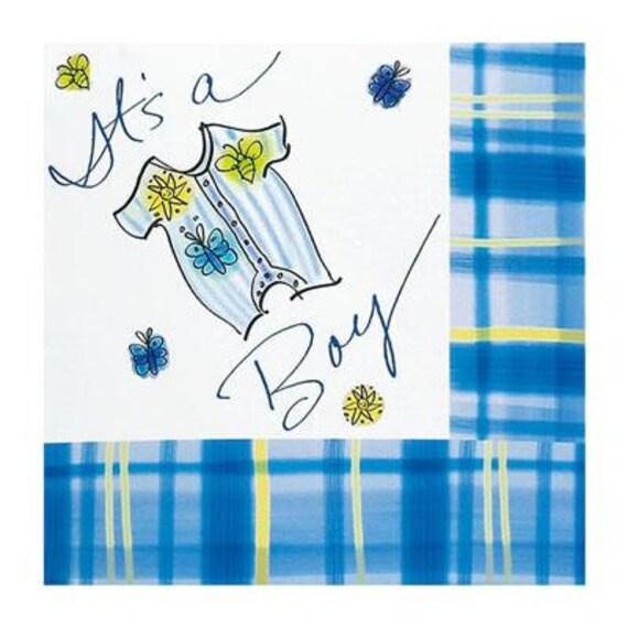 it 39 s a boy baby shower napkins tableware blue plaid individual