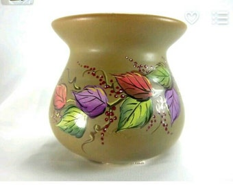 Leaf Vase, Colorful Leaves, Berries, Hand-Painted Found Vase, OliveTan, Fall Colors, Pottery