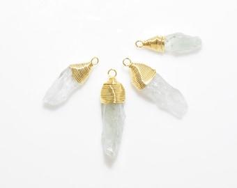 Green Quartz Gemstone Pendant. Green Quartz Charm. Gemstone Pendant . 16K Polished Gold Plated over Brass - 2pcs / NB0026-PGGQ