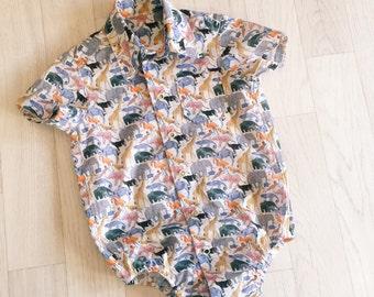 BERTIE Boys Handmade Liberty Print Shirt Romper Newborn Baby