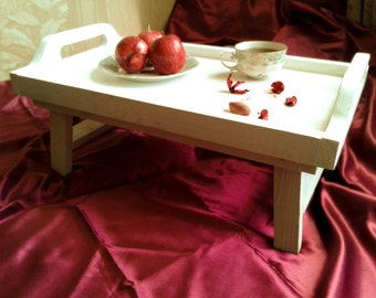 """Breakfast tray with legs,breakfast table,wooden tray, serving table, breakfast table, white wood tray , serving tray """"Pleasant surprise"""""""