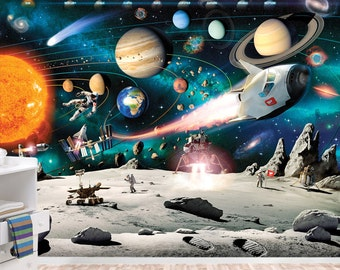 Solar System Mural Space Wallpaper Wall D Cor Nursery And Room D Cor Wall