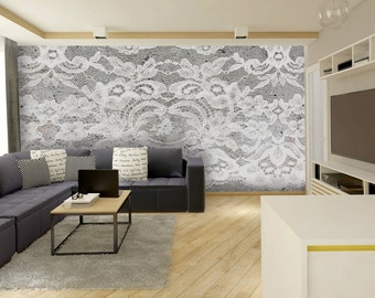 Lace wall mural, White and Gray Wallpaper, Wall décor, Wall decal, Nursery and room décor, Wall art
