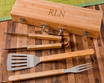 Personalized Grill Tools Set - BBQ Utensils - Grill Accessories - BBQ Tools - Spatula, Fork, Tongs - Bamboo Case