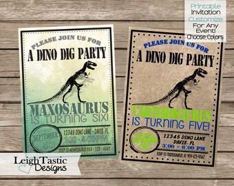 PRINTABLE DINOSAUR INVITATION -Dino Dig - Dinosaur Invite - Dinosaur Party -Dino Invitation - Dinomite, Dino, Bones, First Birthday