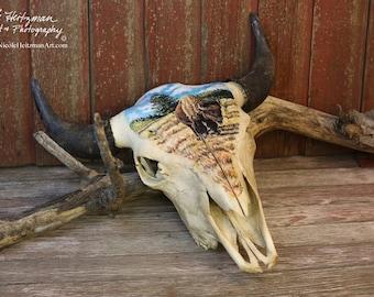 Painted Buffalo Skull Buffalo Art Original Acrylic Painting South Dakota Buffalo painting American Bison Art skull Decor by Nicole Heitzman
