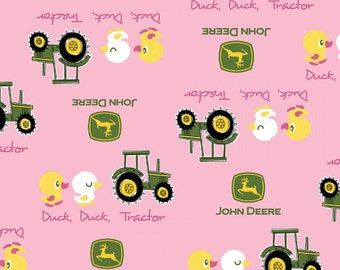 ON SALE!! John Deere - Duck Duck Tractor Fabric - Pink - sold by the 1/2 YARD