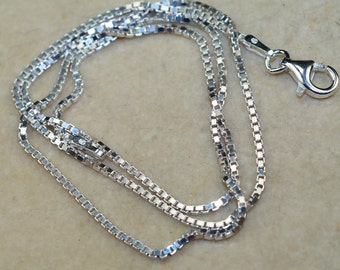 1.2 mm Box Diamond Cut Solid 925 Sterling Silver Chain Made in Italy