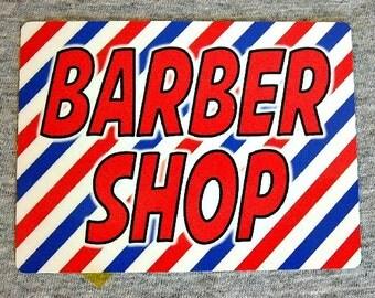 Magnet BARBER SHOP hairdresser barbers shave cut groom barbershop pole stripes man cave decor refrigerator magnets